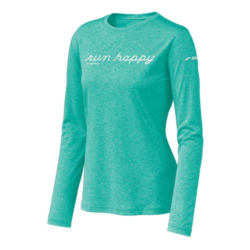 Womens Brooks EZ T Run Happy Long Sleeve No Zip Technical Tops - Turquoise S ...