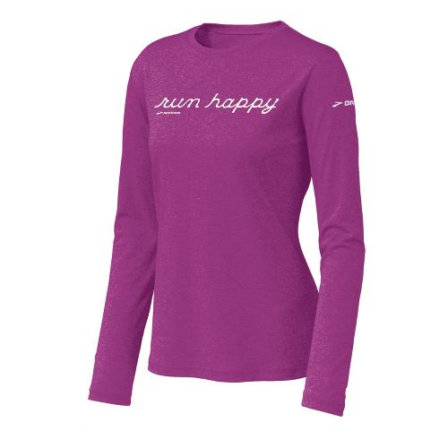 Womens Brooks EZ T Run Happy Long Sleeve No Zip Technical Tops - Viola XS ...