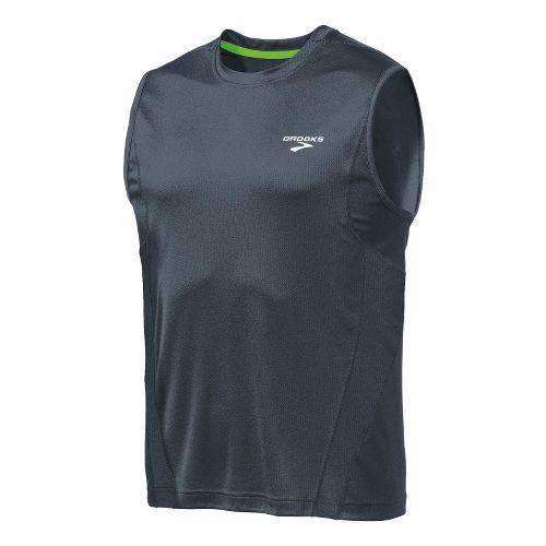 Mens Brooks Versatile Sleeveless Technical Tops - Anthracite/Brite Green M