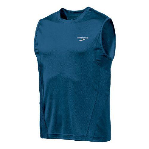Mens Brooks Versatile Sleeveless Technical Tops - Dark Blue XL