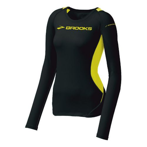 Womens Brooks ID Elite Long Sleeve No Zip Technical Tops - Black/Nightlife XS