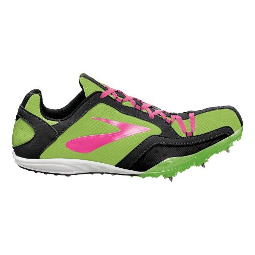 Womens Brooks ELMN8 Track and Field Shoe - Green Gecko/KnockoutPink 7.5