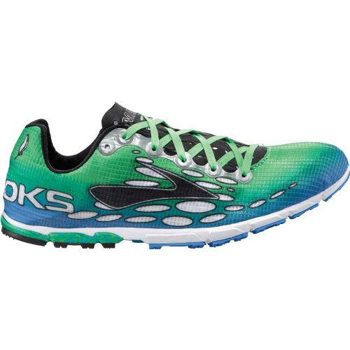 Mens Brooks Mach 14 Spikeless Track and Field Shoe - Neon Blue/Neon Green 12.5
