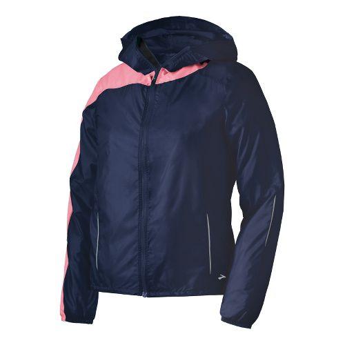 Womens Brooks LSD Lite III Running Jackets - Midnight/Brite Pink L