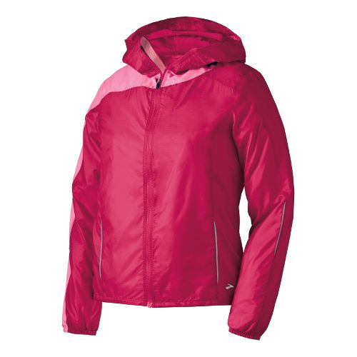Womens Brooks LSD Lite III Running Jackets - Pomegranate/Brite Pink S