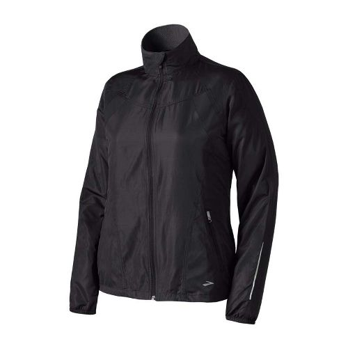 Womens Brooks Essential Run II Outerwear Jackets - Black XS