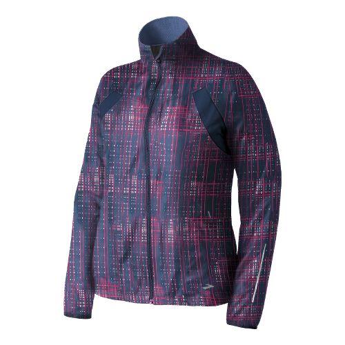 Womens Brooks Essential Run II Outerwear Jackets - Midnight Hatch/Midnight S