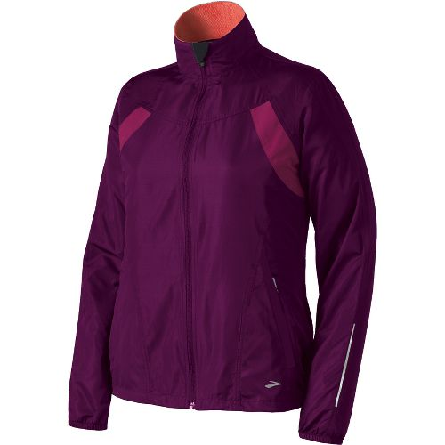 Womens Brooks Essential Run II Outerwear Jackets - Plum/Vino L