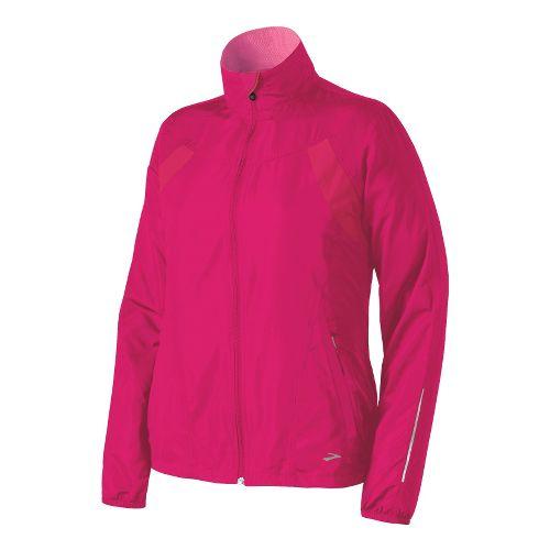 Womens Brooks Essential Run II Outerwear Jackets - Pomegranate M