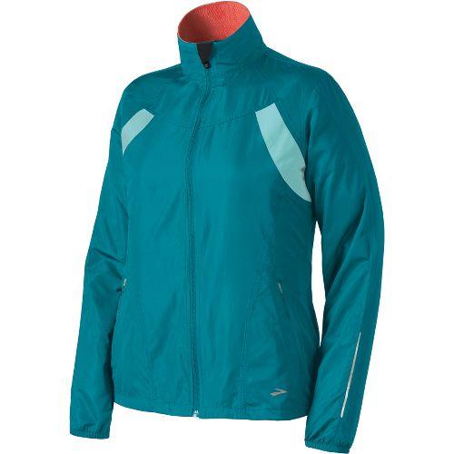 Womens Brooks Essential Run II Outerwear Jackets - Tourmaline/Tropic XS