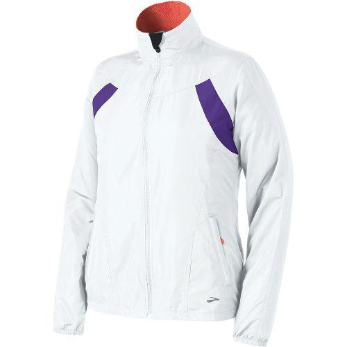 Womens Brooks Essential Run II Outerwear Jackets - White/Royal Purple M