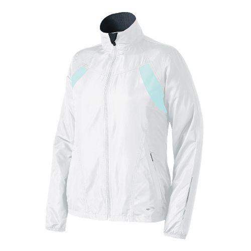 Womens Brooks Essential Run II Outerwear Jackets - White/Sea Foam XL