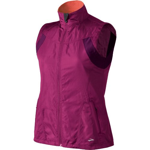 Womens Brooks Essential Run II Outerwear Vests - Vino/Plum S