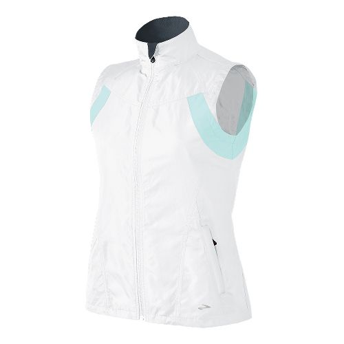 Womens Brooks Essential Run II Outerwear Vests - White/Sea Foam L