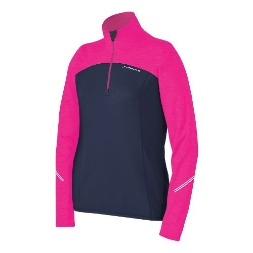 Womens Brooks Utopia Thermal Long Sleeve 1/2 Zip Technical Tops - Midnight/Brite Pink XL