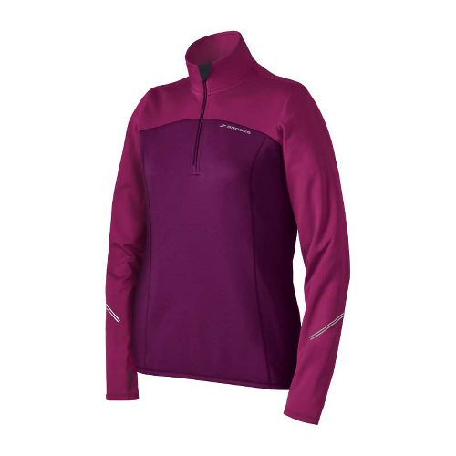 Womens Brooks Utopia Thermal Long Sleeve 1/2 Zip Technical Tops - Plum/Vino M