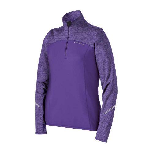 Womens Brooks Utopia Thermal Long Sleeve 1/2 Zip Technical Tops - Royal Purple/Heather Royal ...
