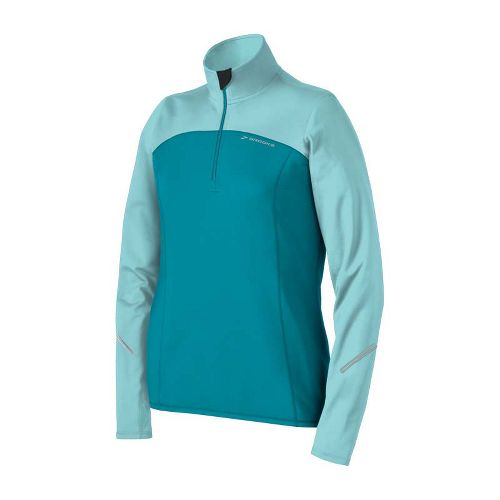 Womens Brooks Utopia Thermal Long Sleeve 1/2 Zip Technical Tops - Tourmaline/Tropic XL