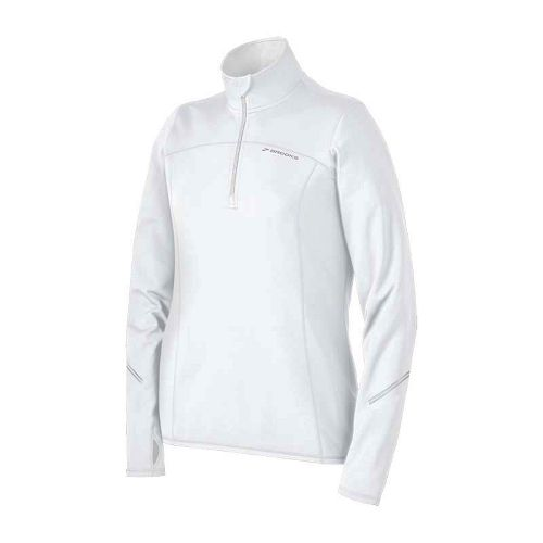 Womens Brooks Utopia Thermal Long Sleeve 1/2 Zip Technical Tops - White XS