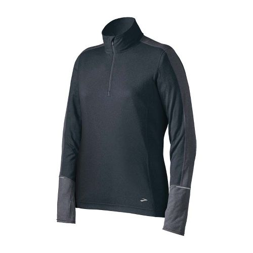 Womens Brooks Essential Long Sleeve 1/2 Zip Technical Tops - Anthracite/Iron M
