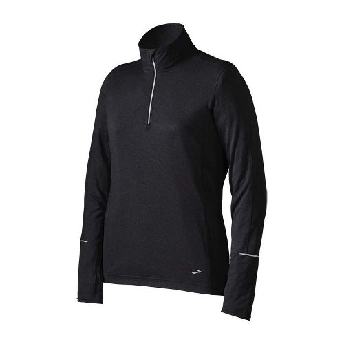 Womens Brooks Essential Long Sleeve 1/2 Zip Technical Tops - Black XS