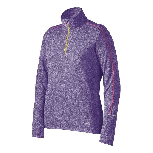 Womens Brooks Essential Long Sleeve 1/2 Zip Technical Tops - Eggplant M