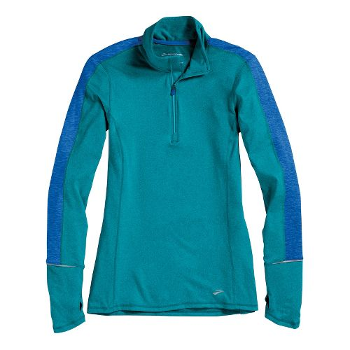 Womens Brooks Essential Long Sleeve 1/2 Zip Technical Tops - Heather Caribbean/Electric L