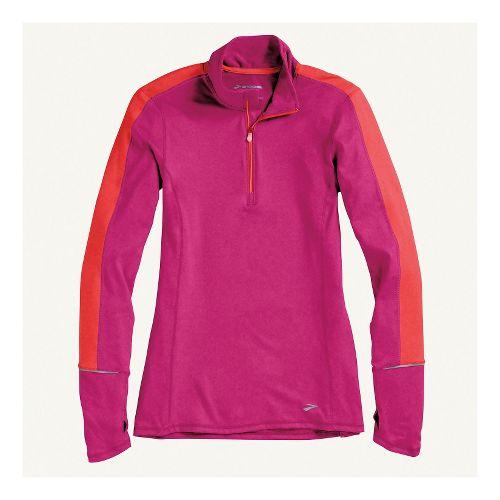 Womens Brooks Essential Long Sleeve 1/2 Zip Technical Tops - Heather Fuchsia/Poppy M