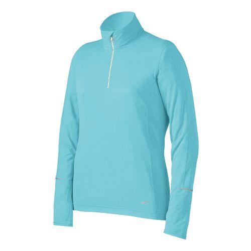 Womens Brooks Essential Long Sleeve 1/2 Zip Technical Tops - Heather Helium L