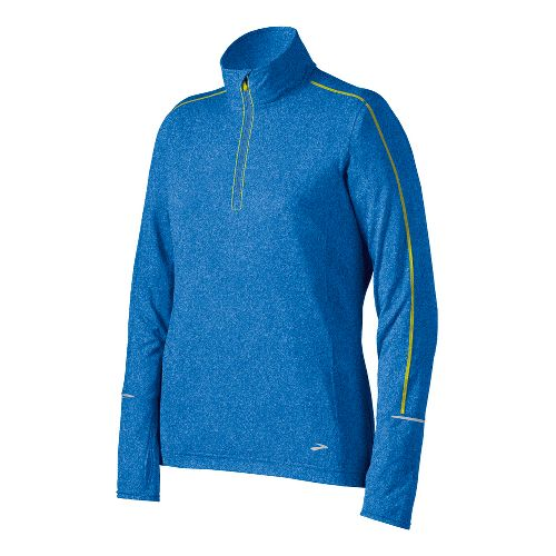 Womens Brooks Essential Long Sleeve 1/2 Zip Technical Tops - Neptune S