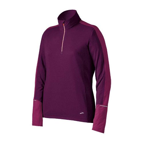 Womens Brooks Essential Long Sleeve 1/2 Zip Technical Tops - Plum/Vino XL