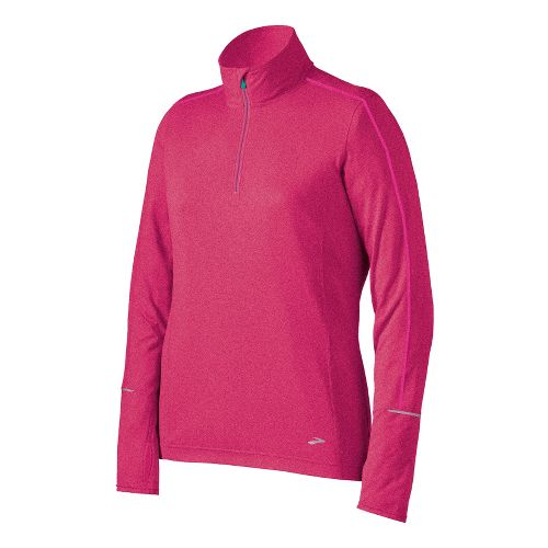 Womens Brooks Essential Long Sleeve 1/2 Zip Technical Tops - Pomegranate M