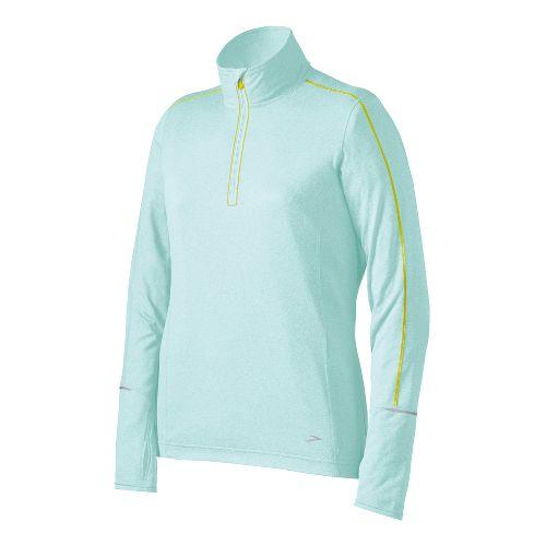Womens Brooks Essential Long Sleeve 1/2 Zip Technical Tops - Sea Foam M