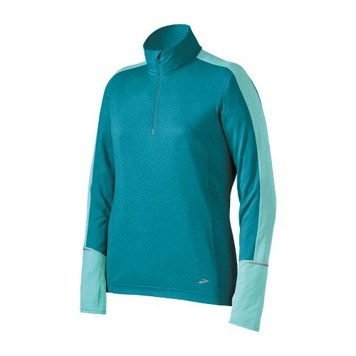 Womens Brooks Essential Long Sleeve 1/2 Zip Technical Tops - Tourmaline/Tropic L