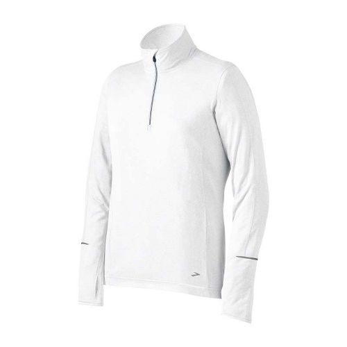 Womens Brooks Essential Long Sleeve 1/2 Zip Technical Tops - White M