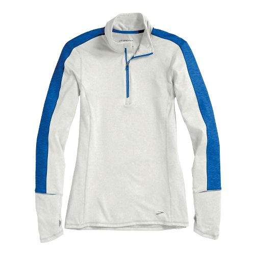 Womens Brooks Essential Long Sleeve 1/2 Zip Technical Tops - White/Electric M
