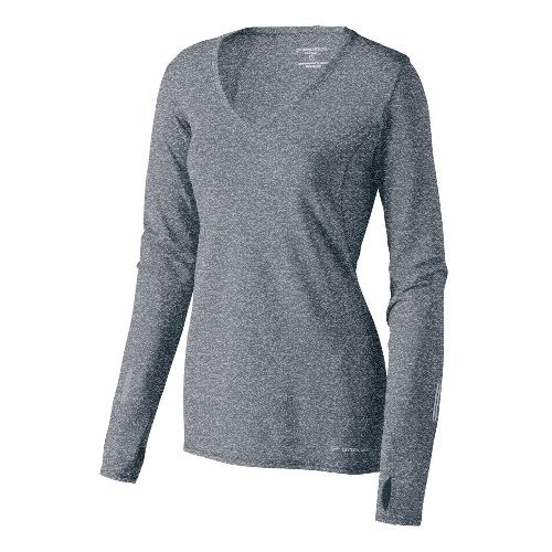 Womens Brooks Essential V-neck Long Sleeve No Zip Technical Tops - Anthracite M