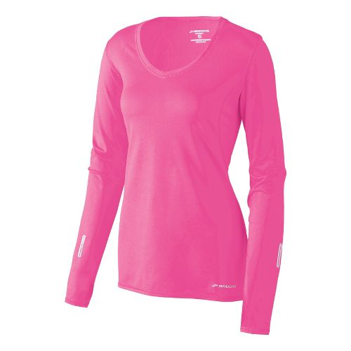 Womens Brooks Essential V-neck Long Sleeve No Zip Technical Tops - Brite Pink L