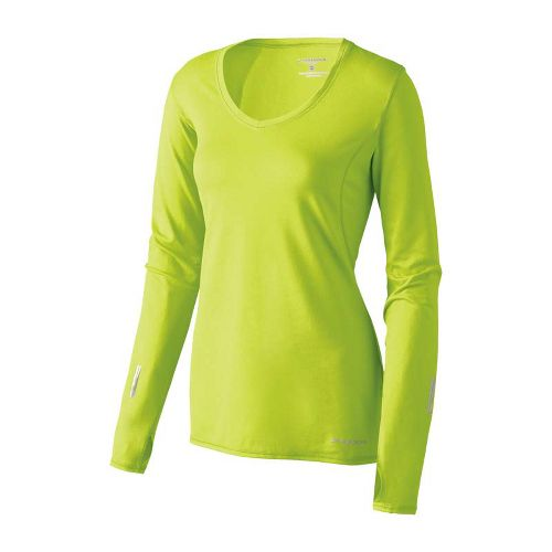Womens Brooks Essential V-neck Long Sleeve No Zip Technical Tops - Citron XL