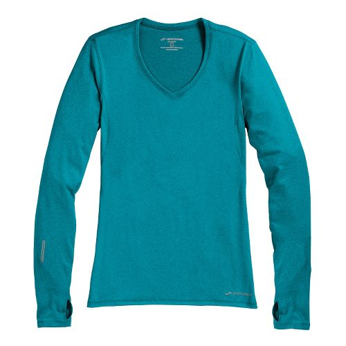Womens Brooks Essential V-neck Long Sleeve No Zip Technical Tops - Caribbean S