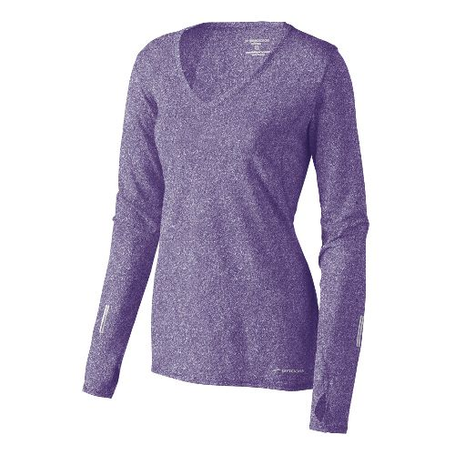 Womens Brooks Essential V-neck Long Sleeve No Zip Technical Tops - Eggplant XS