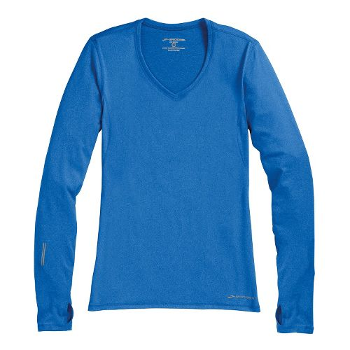 Womens Brooks Essential V-neck Long Sleeve No Zip Technical Tops - Electric M