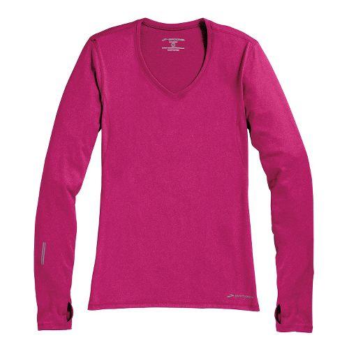 Womens Brooks Essential V-neck Long Sleeve No Zip Technical Tops - Fuchsia M