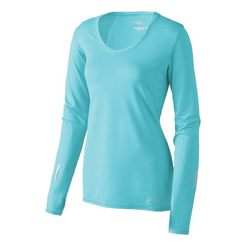 Womens Brooks Essential V-neck Long Sleeve No Zip Technical Tops - Helium XS