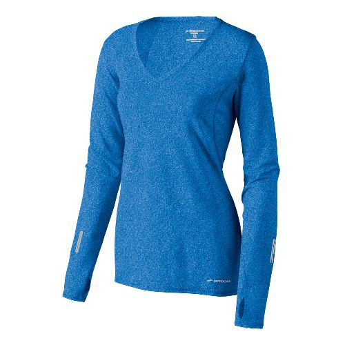 Womens Brooks Essential V-neck Long Sleeve No Zip Technical Tops - Neptune L