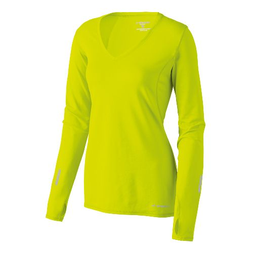 Womens Brooks Essential V-neck Long Sleeve No Zip Technical Tops - Nightlife XS