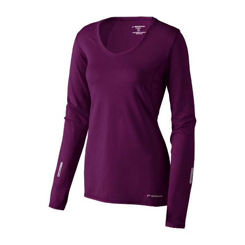 Womens Brooks Essential V-neck Long Sleeve No Zip Technical Tops - Plum L