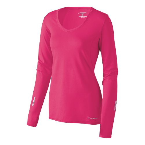 Womens Brooks Essential V-neck Long Sleeve No Zip Technical Tops - Pomegranate XS