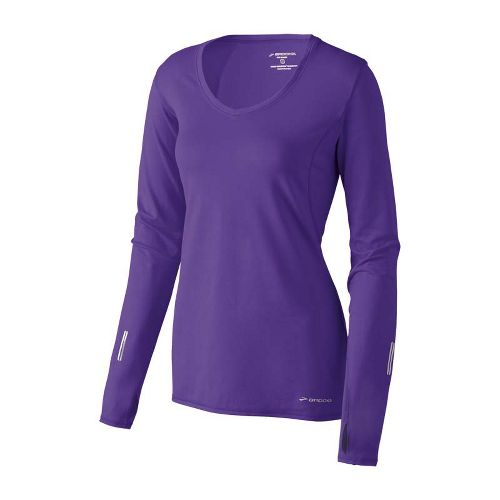 Womens Brooks Essential V-neck Long Sleeve No Zip Technical Tops - Royal Purple XS