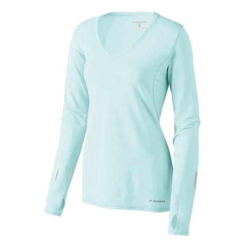 Womens Brooks Essential V-neck Long Sleeve No Zip Technical Tops - Sea Foam L